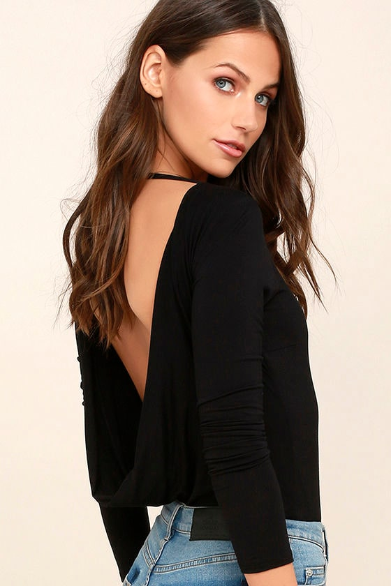 Hype-Worthy Black Backless Bodysuit 1