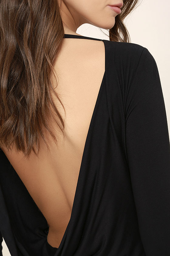 Hype-Worthy Black Backless Bodysuit 6