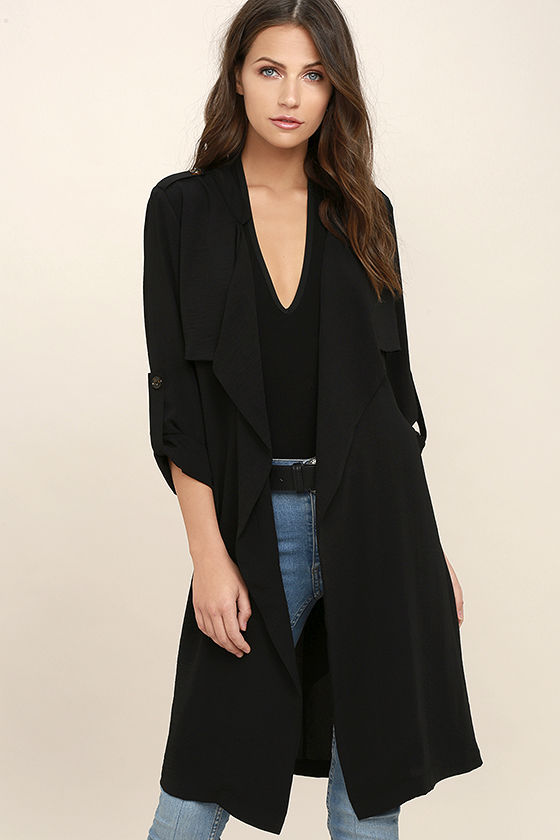 Chic Black Coat - Trench Coat - Belted Coat - $58.00