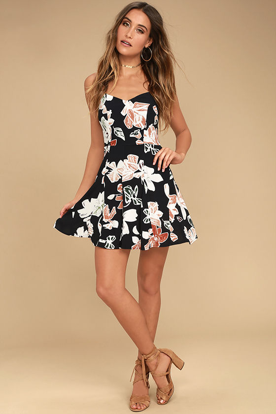 Permission to Daydream Black Floral Print Skater Dress 2