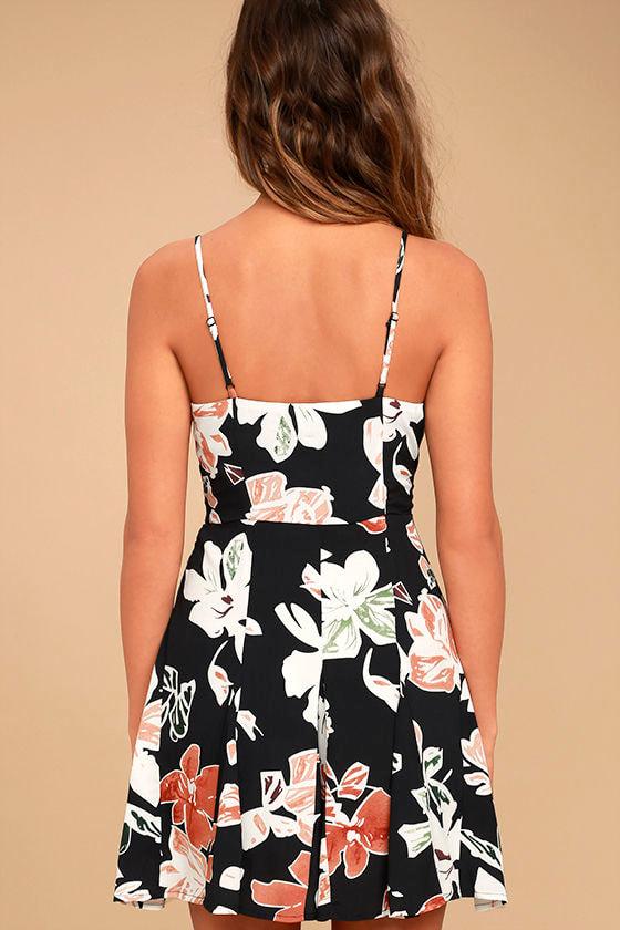 Permission to Daydream Black Floral Print Skater Dress 4