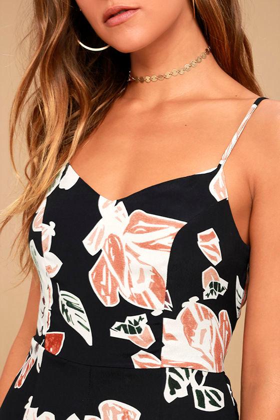 Permission to Daydream Black Floral Print Skater Dress 5
