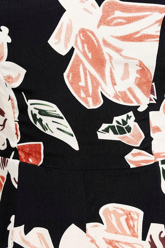 Permission to Daydream Black Floral Print Skater Dress 6