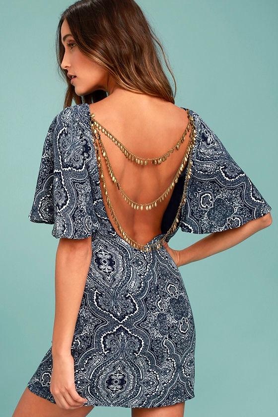 Start a Party Navy Blue Print Backless Shift Dress 1