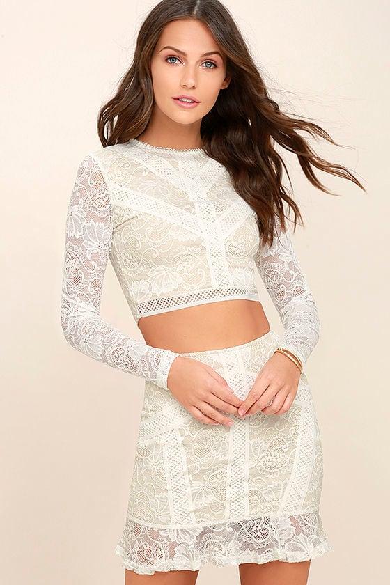 491c739dd4ba4 Chic White Lace Dress - Two-Piece Lace Dress - Lace Bodycon Dress - $58.00