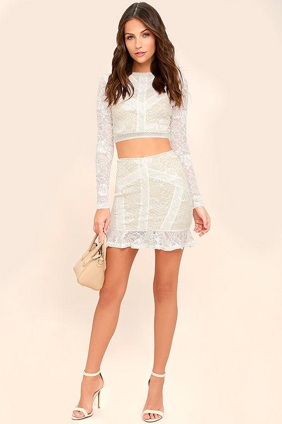 eb827b9bbf183 Chic White Lace Dress - Two-Piece Lace Dress - Lace Bodycon Dress ...
