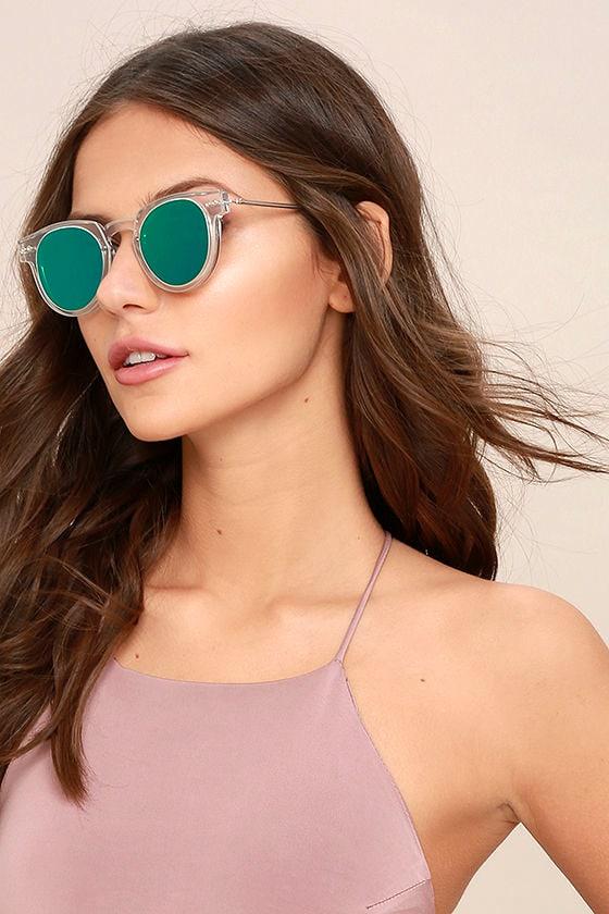 677d19d24024 Spitfire Sharper Edge 1 - Clear and Green Sunglasses - Mirrored Sunglasses  - Flat Lense Sunglasses - $59.00