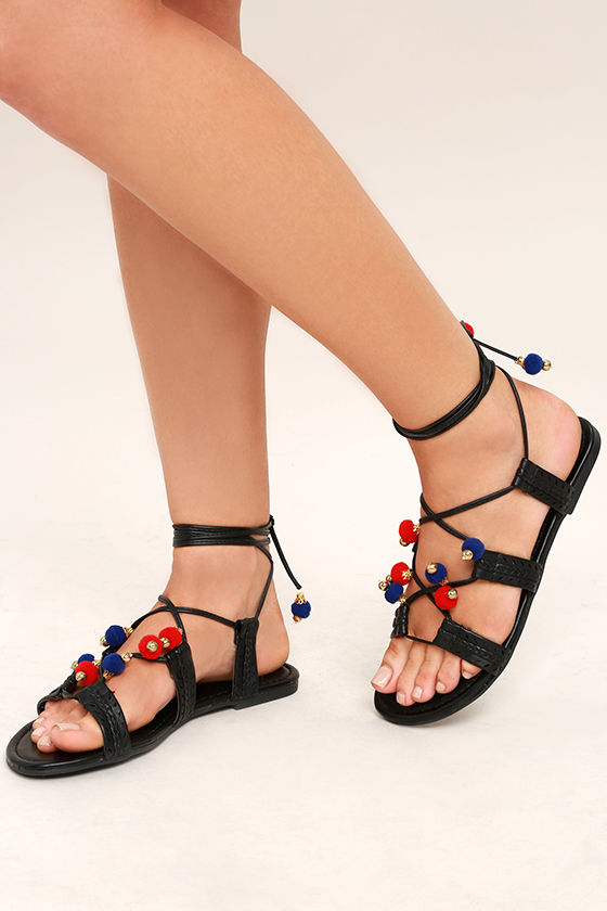 Madden Girl Baliee Black Lace-Up Pompom Sandals 1