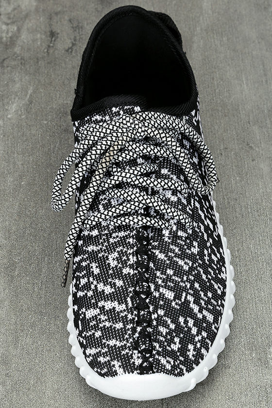 Creative Kick Black and White Knit Sneakers 5