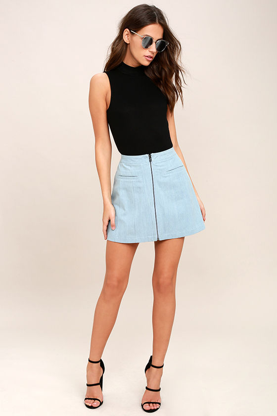 Zippity Doo Dah Blue Chambray Mini Skirt 2