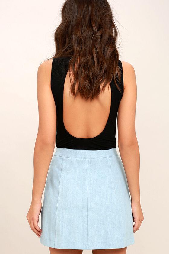 Zippity Doo Dah Blue Chambray Mini Skirt 3
