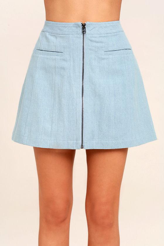 Zippity Doo Dah Blue Chambray Mini Skirt 4