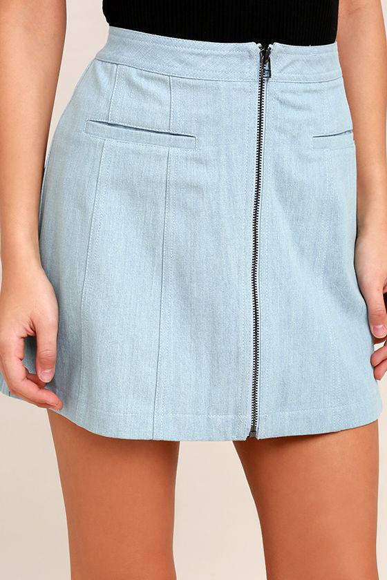 Zippity Doo Dah Blue Chambray Mini Skirt 5