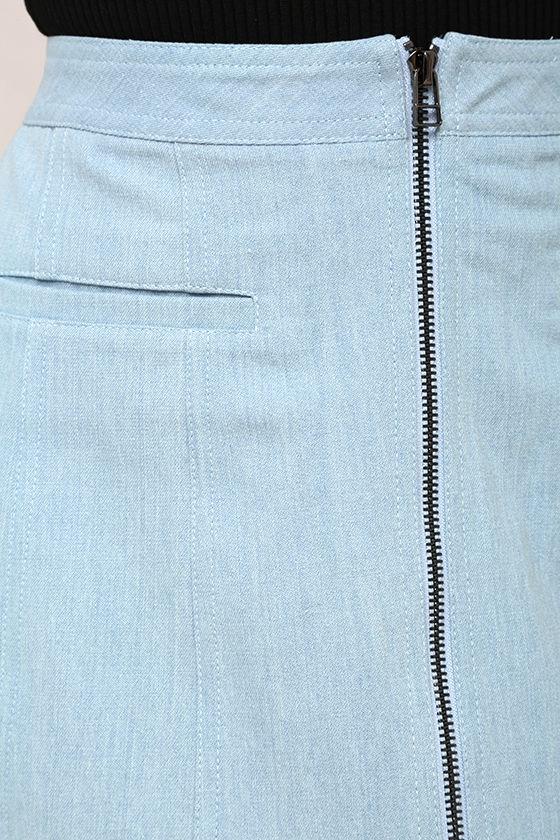 Zippity Doo Dah Blue Chambray Mini Skirt 6