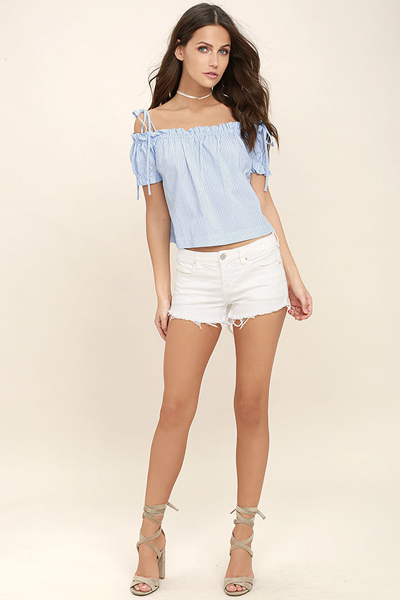 07ac2a914369 Cute Blue and White Top - Striped Top - Off-the-Shoulder Top - Crop ...