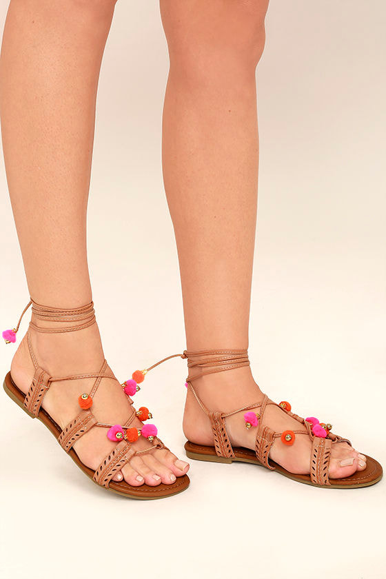 Madden Girl Baliee Natural Lace-Up Pompom Sandals 1