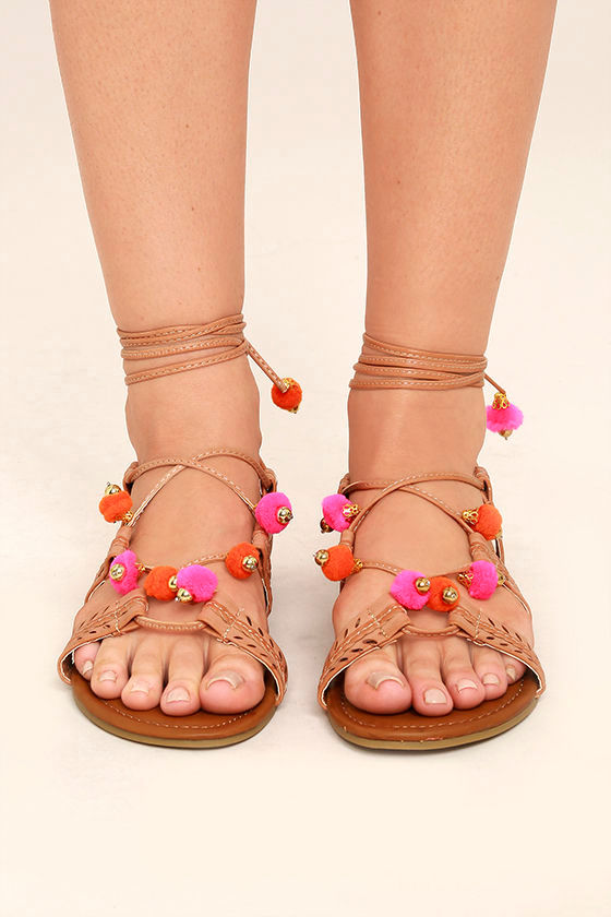 47e24ef13afb Madden Girl Baliee - Natural Lace-Up Sandals - Pompom Sandals -  49.00