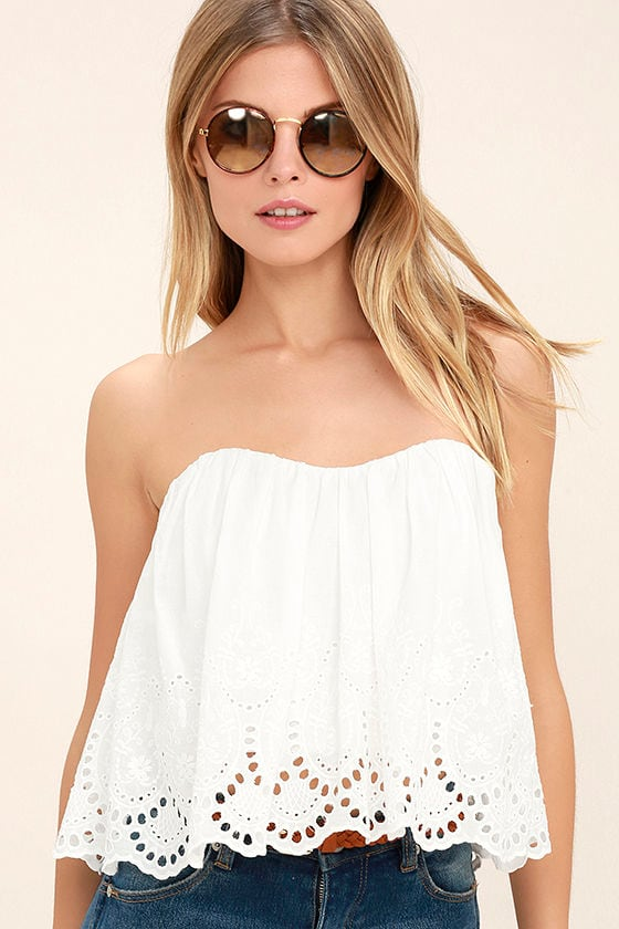 9d613dd382d Boho White Top - Strapless Top - Crop Top - Eyelet Top -  46.00