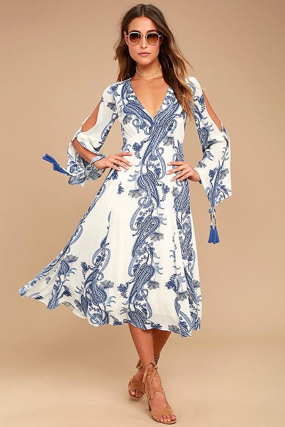 Boat Life Blue and White Print Midi Dress 1