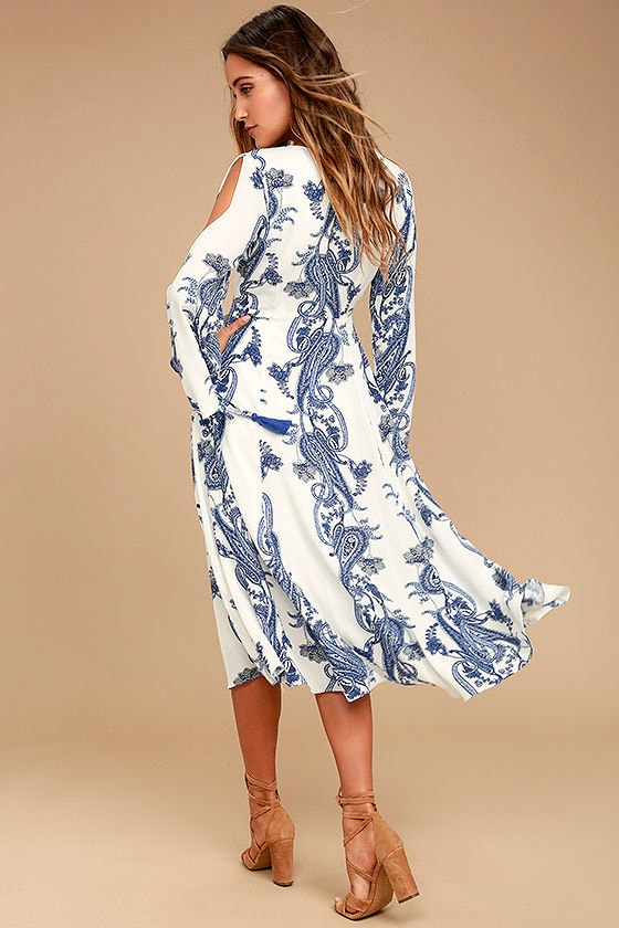 Boat Life Blue and White Print Midi Dress 3