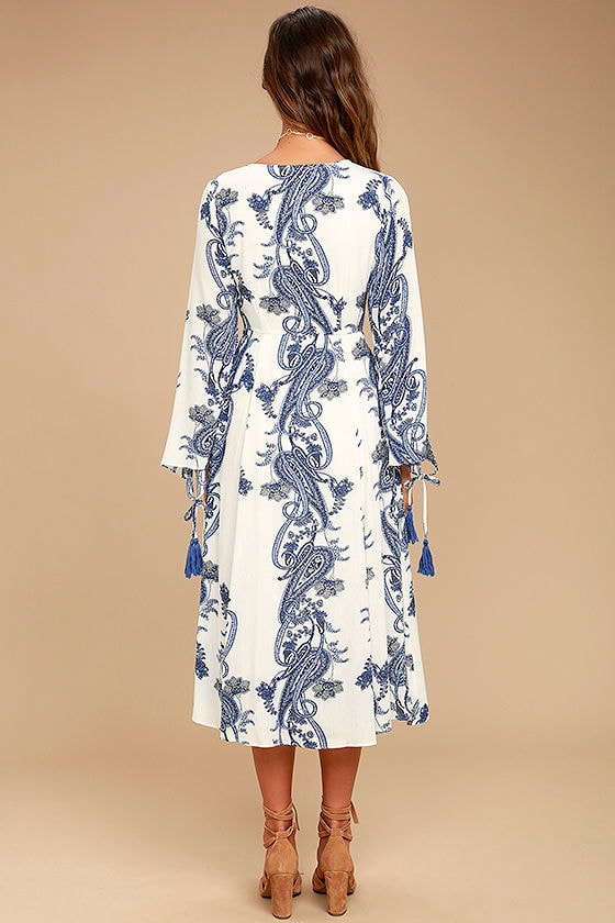 Boat Life Blue and White Print Midi Dress 4