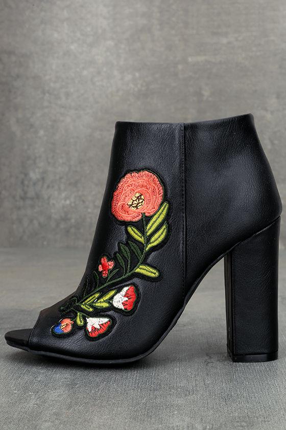 Asta Black Embroidered Peep-Toe Booties 1