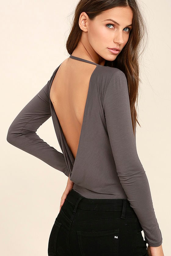 Hype-Worthy Dark Grey Backless Bodysuit 1