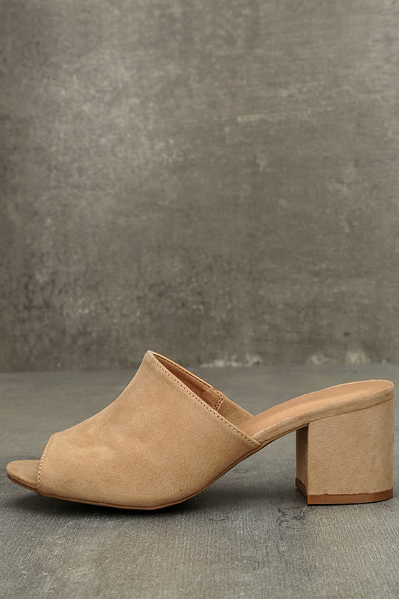 331d22679c0b Chic Natural Heels - Vegan Suede Mules - Nude Mules - Peep-Toe Mules ...
