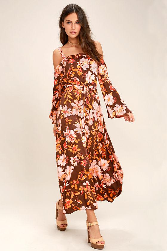 436e2ea6f271 Somedays Lovin' She's a Wildflower - Burgundy Floral Print Dress - Maxi  Dress