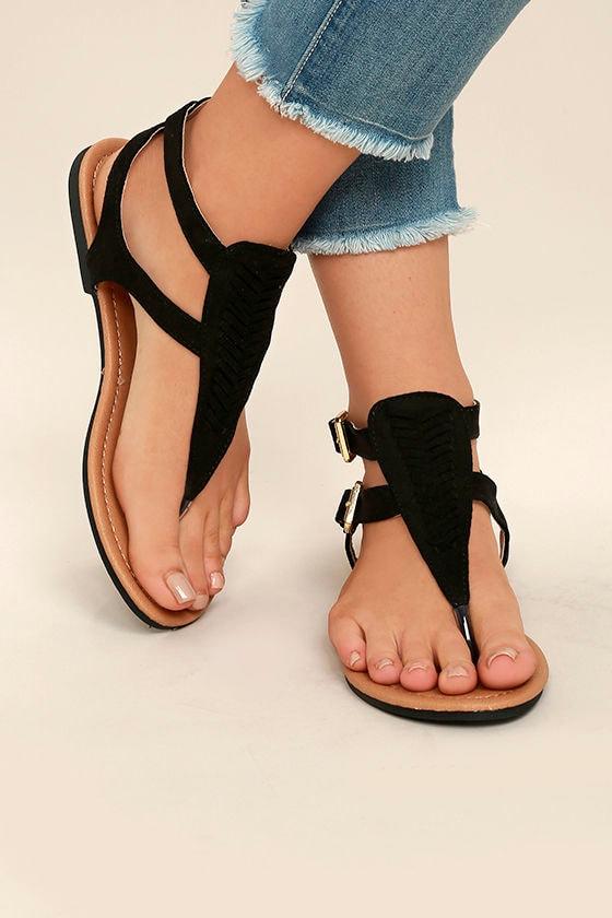 fa705b13f306 Cute Black Sandals - Vegan Suede Sandals - Black Thong Sandals -  19.00