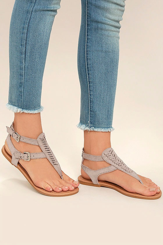 Draya Taupe Suede Flat Sandals 2