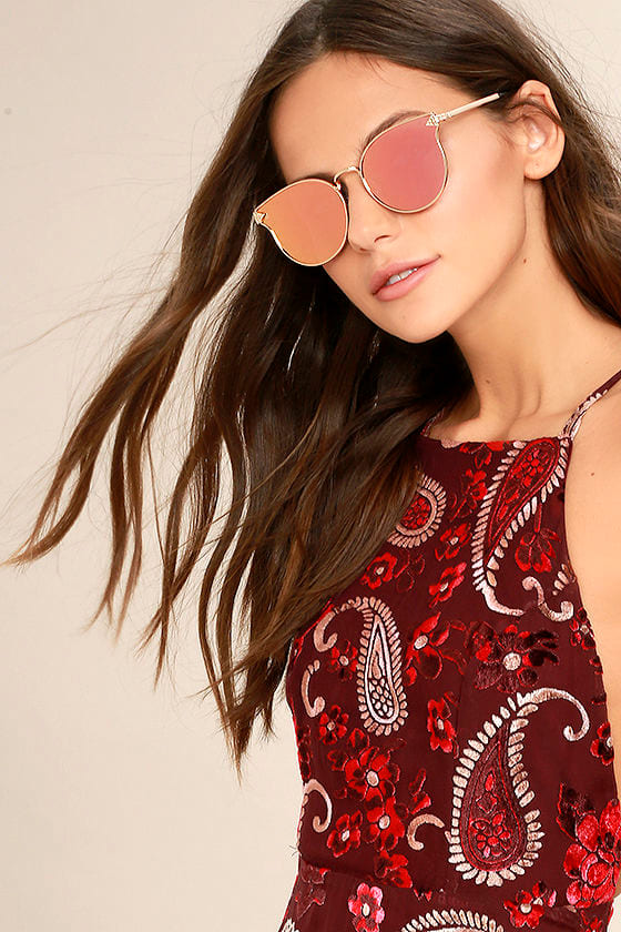 By the Way Rose Gold and Pink Mirrored Sunglasses 1