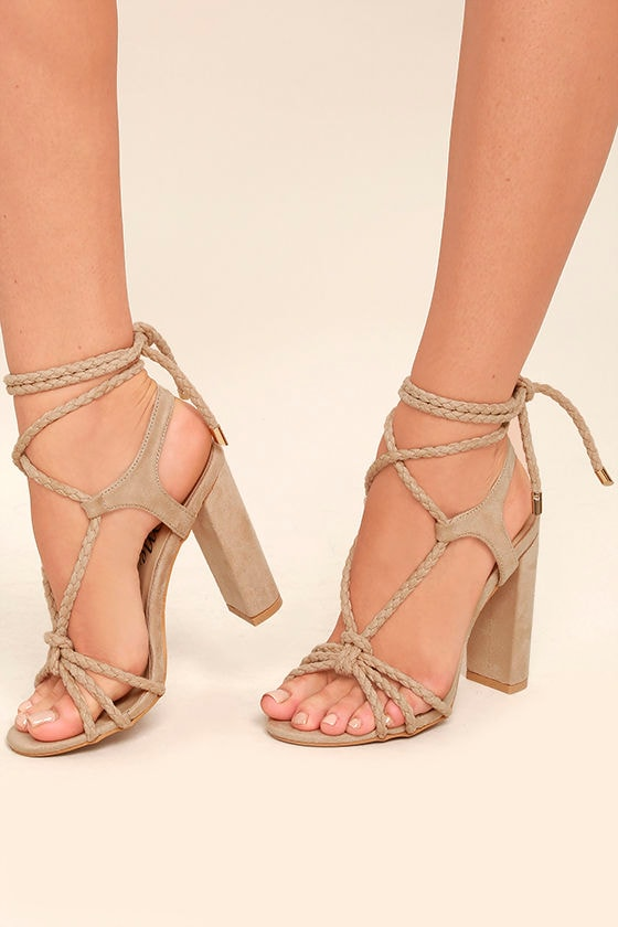 Ophelia Nude Suede Lace-Up Heels 1