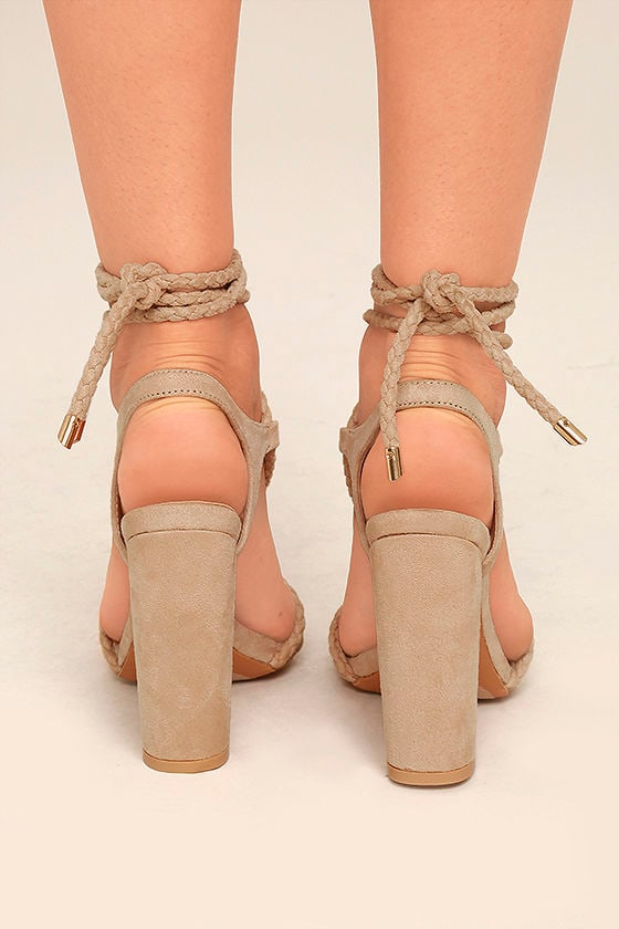 Ophelia Nude Suede Lace-Up Heels 4