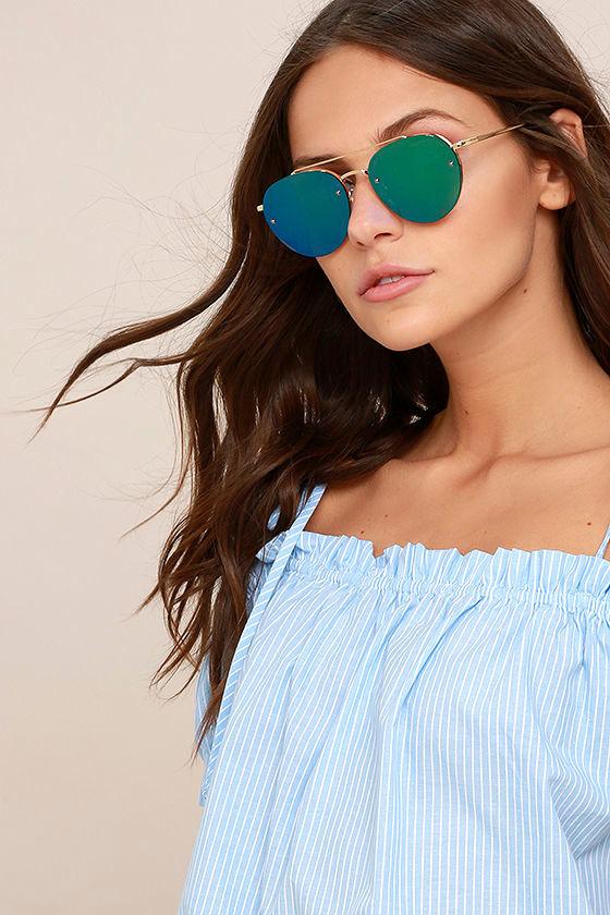 fde70d91aca2 Cute Green Mirrored Sunglasses- Gold Aviator Sunglasses - Green Sunnies -   18.00