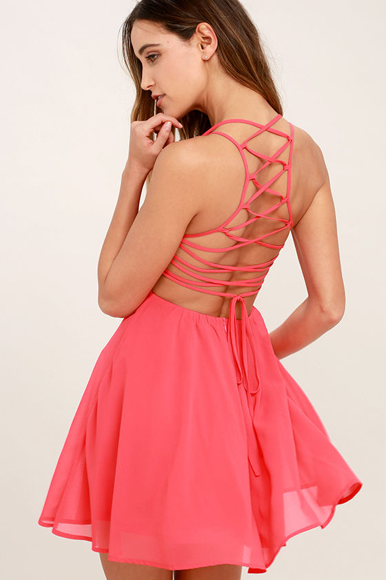 Good Deeds Coral Pink Lace-Up Dress 1