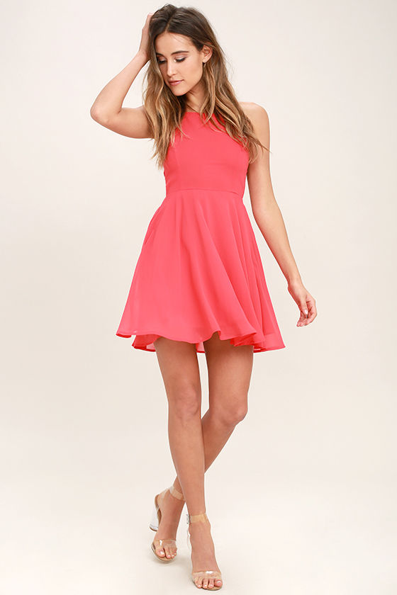 Good Deeds Coral Pink Lace-Up Dress 2