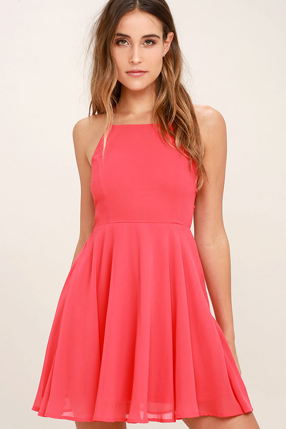 Good Deeds Coral Pink Lace-Up Dress 3