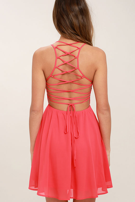 Good Deeds Coral Pink Lace-Up Dress 4