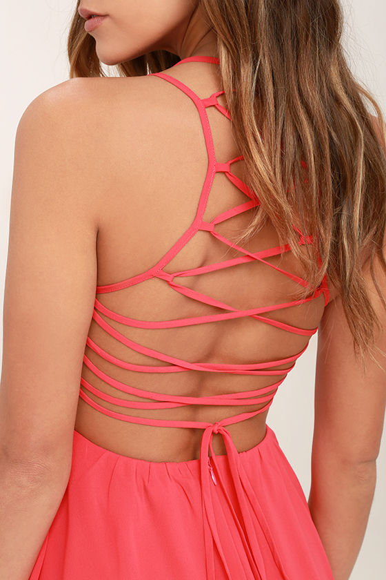 Good Deeds Coral Pink Lace-Up Dress 5