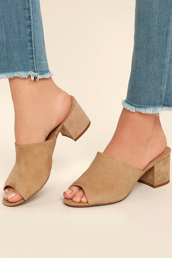 012d8a40798 Chic Natural Heels - Vegan Suede Mules - Nude Mules - Peep-Toe Mules -   25.00