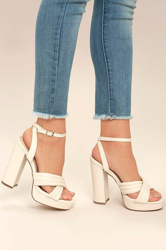 Sexy Cream Heels - Platform Heels - Vegan Leather Heels - $42.00