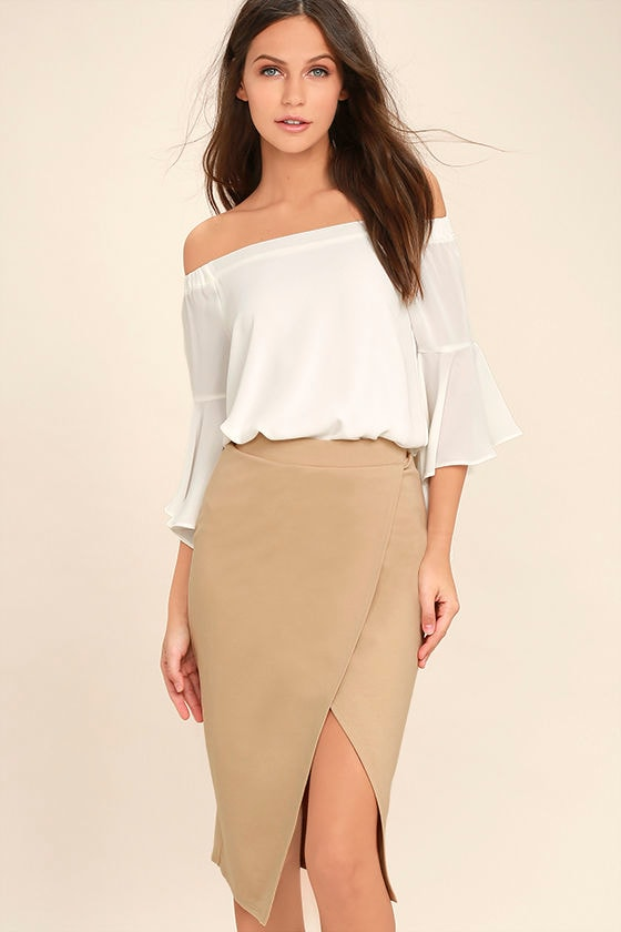 Stylish Beige Skirt - Midi Skirt - Pencil Skirt - Wrap Skirt - $34.00