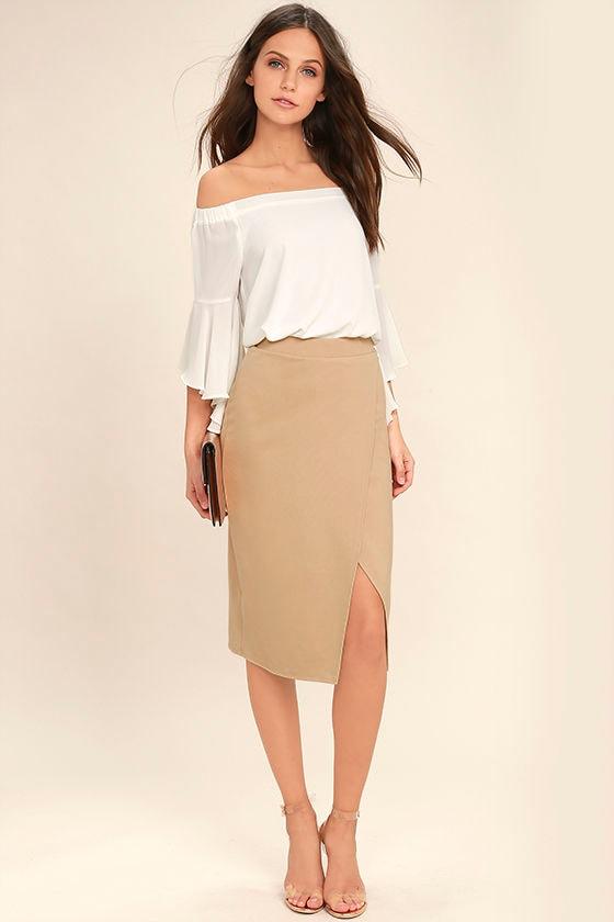 83fa4ea5f36738 Stylish Beige Skirt - Midi Skirt - Pencil Skirt - Wrap Skirt - $34.00