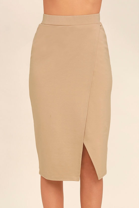 Beige Pencil Skirt - Dress Ala
