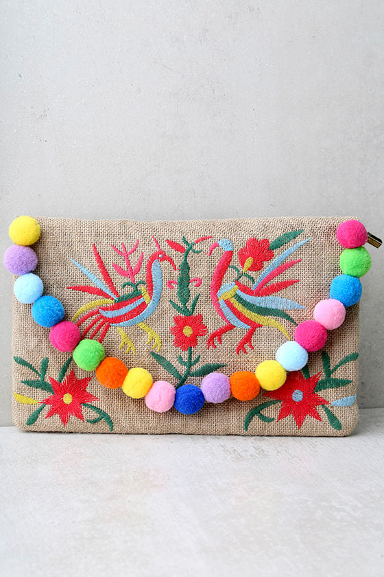 Fanciful Beige Embroidered Pompom Clutch 1