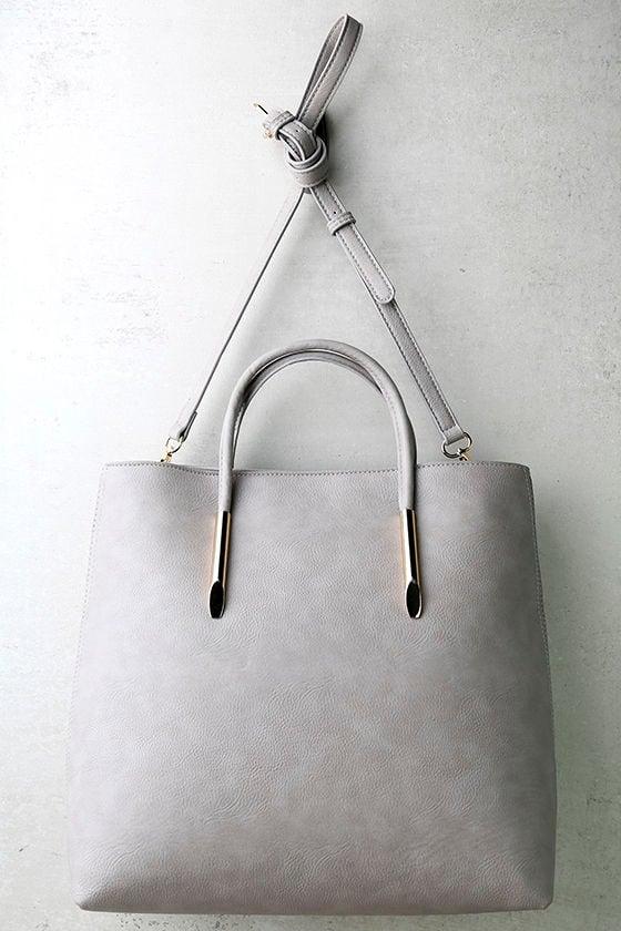 8cf39e56dbac Chic Grey Tote - Grey Handbag - Vegan Leather Tote -  46.00