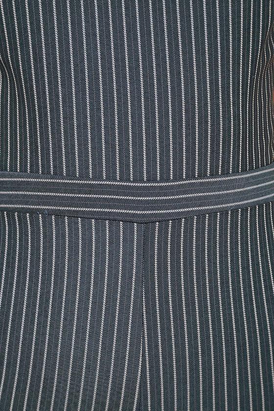 Negotiation Slate Grey Striped Midi Jumpsuit 6