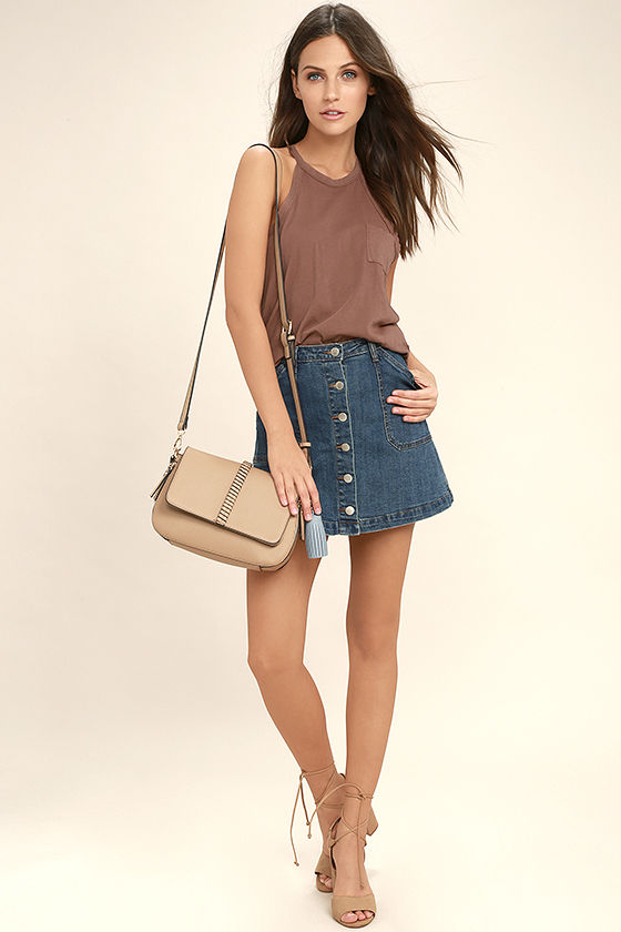 f6a3e754d67bf Others Follow Top - Washed Brown Tank Top - Sleeveless Top -  29.00
