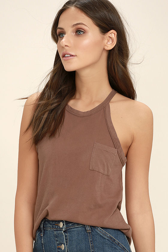 Others Follow Allyson Washed Brown Tank Top 3